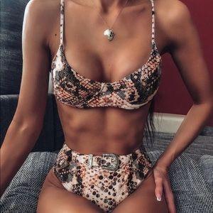 NWTS SHEIN Snakeskin High Waist Belted Bikini Set